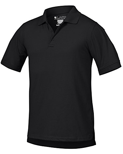 LA Police Gear Men Antiwrinkle Operator Tactical Short Sleeve Polo Shirt - Black - S (Printed Black Police)