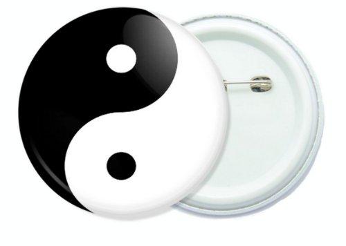 Yang Button - Yin Yang black and white 1.75 inch button pin badge.