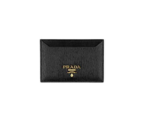 Case Nero - Prada Vitello 'Move' Signature Logo Plaque Card Case, Black (Nero) 1MC208