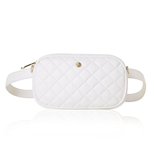 The Lovely Tote Co. Women's 2-way Fanny Pack Small Quilting Crossbody Bag (One size, White (Diamond))
