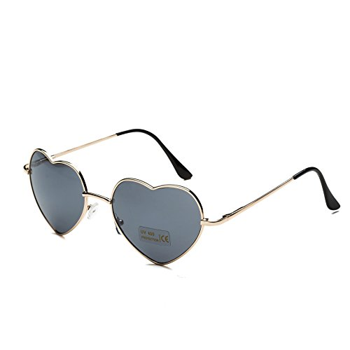 Dollger Heart Sunglasses for Women Polarized Aviator Style Mirror Lens Metal Gold - Aviator Sunglasses Heart