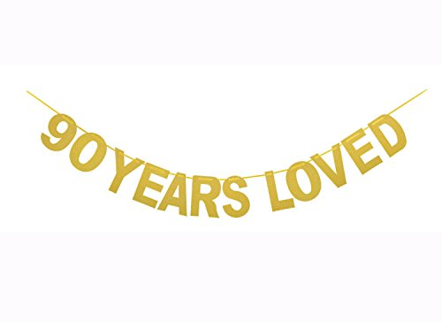 Qibote Gold Glitter 90 Years Loved Banner for 90th Birthday, 90 Wedding Anniversary Party Decorations