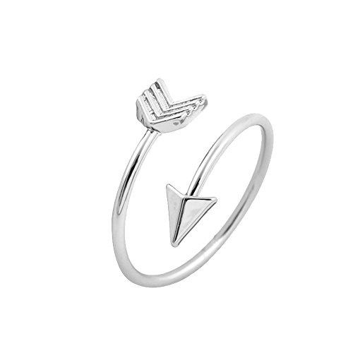 AOCHEE Adjustable High Polished Open Arrow Wrap Ring for Women Girls (Silver) (Ring Arrow Wrap)