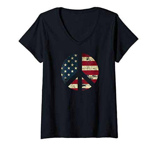Womens Distressed American Flag Peace Sign, equality, patriotic V-Neck ()