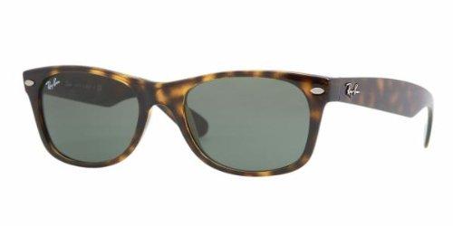 Ray-Ban RB2132 New Wayfarer Non Polarized Sunglasses,Tortoise, Green, 55 mm