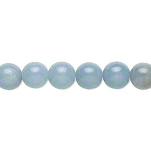 Packet Of 10 x Blue Angelite 6mm Plain Round Beads - (GS14237-1) - Charming (Plain Round Beads)