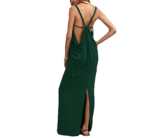 Unanping Caged Draped Back Slit Dress Sexy Long Dresses Green S