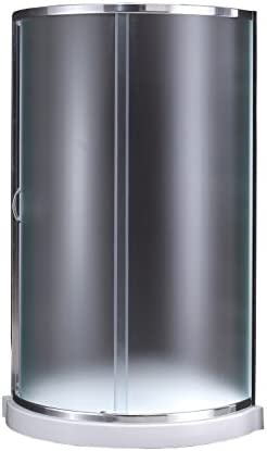 Ove Decors Breeze 34 in x 76 in. Frosted Glass Sliding Door and Base Kit Round Corner Shower, Inch, Chrome Finish