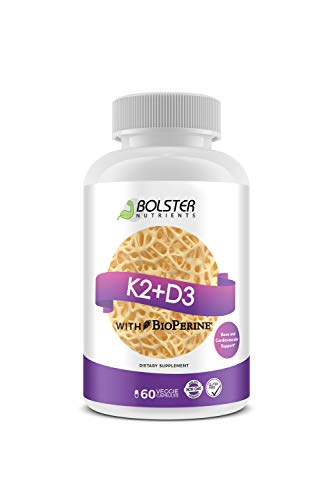 Bolster Nutrients Vitamin K2 + D3 with Bioperine™: Gluten-Free, Non-GMO - Vitamin D 5,000 IU Plus The Added Assimilation with The K2 - Small & Easy to Swallow Veggie Caps