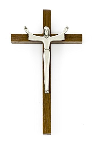 Walnut Wood Cross Crucifix with Pewter Risen Christ Corpus, 7 Inch ()