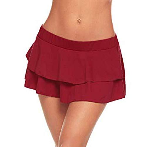 Usstore  Womens Club Mini Skirt Sexy Fashion Low-Waist 2-Layer Party Pleated Temptation Babydoll Ultrashort Skirt (XXL, ()
