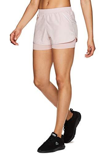 RBX Active Women's Workout Running Shorts w/Attached Bike Short S19 Pink XL