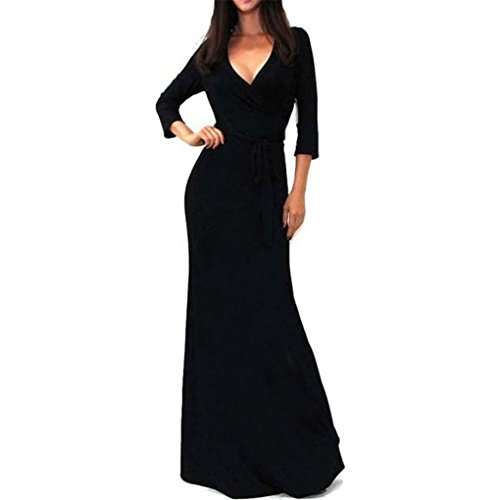 (haoricu Women Dress, Fall Vintage Elegant Womens Solid V-Neck Slim Maxi Party Long Dress with Sashes (XL, Black))