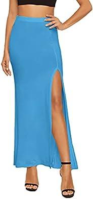 Verdusa Women's Solid Color High Waist Side Split Maxi S