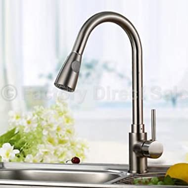 16  Pull-Out Brushed Nickel Kitchen Sink Faucet Spray Swivel One Handle New