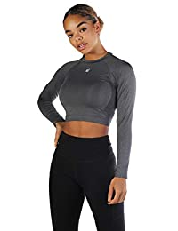 Jed North Women's Fitted Long Sleeve Crop Top Workout T Shirt