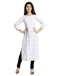 QueenShield Chikankari Kurtis for Women Cotton Kurta Kurti Indian Clothes for Girls Ladies - White (QS_5555)