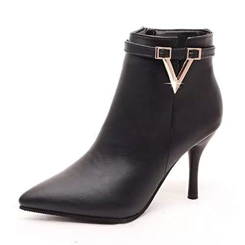 HOESCZS Chaussures Femme Automne Hiver Nouveau Métal Pointu Bottes Femme Métal Nouveau Stiletto Bottes À Talons Hauts À La Mode Femmes Grande Taille Bottes Simples Femmes Bottes Femmes 40|Black 9b489b