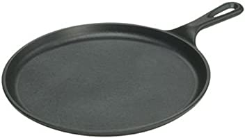 Lodge 10.5 Inch Cast Iron Griddle. Pre-seasoned Round Cast Iron Pan Perfect for Pancakes, Pizzas, and Quesadillas.