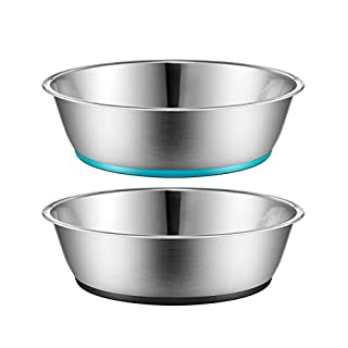 PEGGY11 Light Non-Slip Stainless Steel Dog cat Bowl Two-Pack 28 Ounce