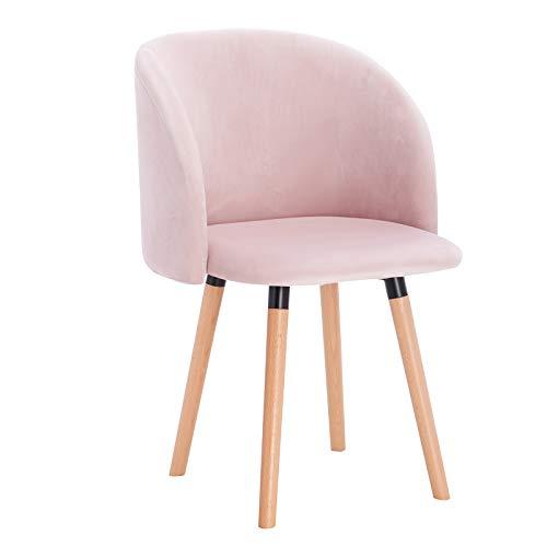 WOLTU 1x Sillas de Comedor Nordicas Estilo Vintage Dining Chairs Juego de 1 Sillas de Cocina Tulip Sillas Tapizadas en Terciopelo Silla de Conferencia Silla de Escritorio Rosa BH121rs-1