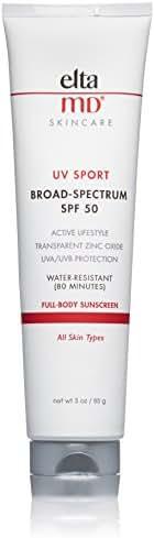 EltaMD UV Sport Sunscreen Broad-Spectrum SPF 50, Water-Resistant, Oil-free, Dermatologist-Recommended Mineral-Based Zinc Oxide Formula, 3.0 oz