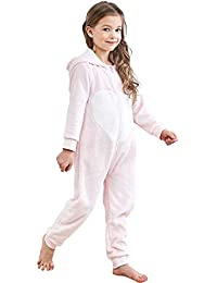 e14c639ba6d5 Kids Animal One-Piece Pajamas Costume Hooded Cosplay Onesies Plush  Sleepwear for Girls   Boys