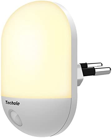 Luce Notturna LED, Techole Automatiche Luce Notturna Bambini con Sensore Crepuscolare, Plug-and-Play, Luce Notturna per Vivai, Soggiorno, Corridoi, Bagno, Cucina, Scale – Caldo Giallo