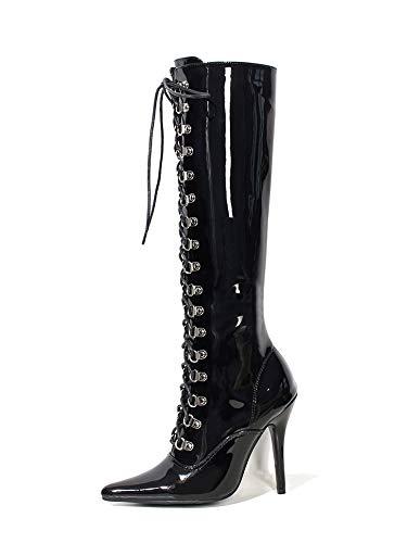 Tacchi 12 scarpe,44,nero centimetri scarpe alti mezzo tubo stivali modello scarpe,44,nero 12 - 9746f9