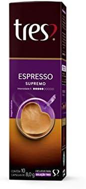 Cápsula de Café Espresso, Supremo, 10 Unidades, Tres, 3 Corações