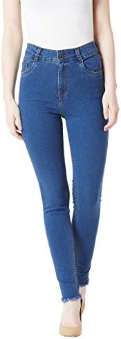Miss Chase Women's Blue Skinny High Rise Cropped Length Fringed Detailing Stretchable Denim Jeans