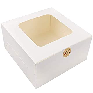 Moretoes 24pcs 10x10x5 Inches White Bakery Boxes with Window Cake Box for Pastries, Cookies, Pie, Cupcakes