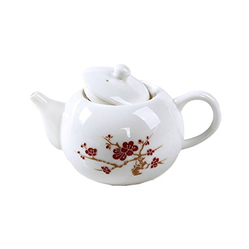 ufengke®White Small Kung Fu Ceramic Teapot With Red Plum Flower