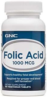 GNC Folic Acid 1000mcg, 100 Tablets, Supports Healthy Fetal Development