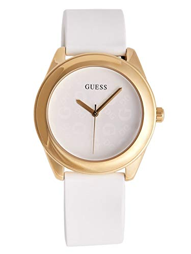 GUESS Factory Women's White and Gold-Tone Silicone Logo Watch, NS