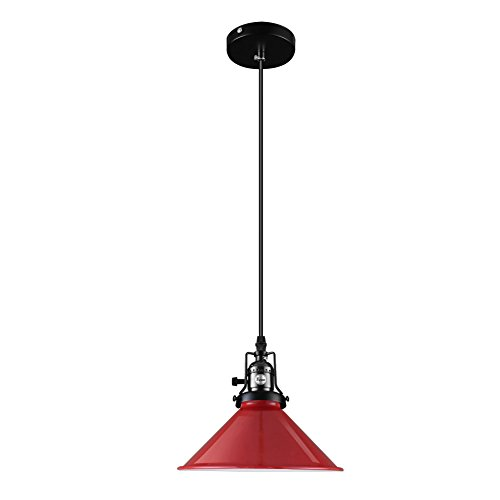 Fuloon Old-time Style Retro Industrial Ceiling Light Metal Shade Loft Coffee Bar Kitchen Hanging Pendant Light Lamp (Red)