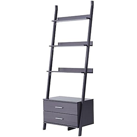 HomCom 70 4 Tier Leaning Ladder Storage Cabinet Bookcase Shelf Whitewashed Brown