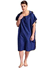 FLYTON Changing Robe Towel Poncho with Hood for Surfing Swimming Wetsuit Changing,Compact & Light Weight,One Size Fit All (Dark Blue)