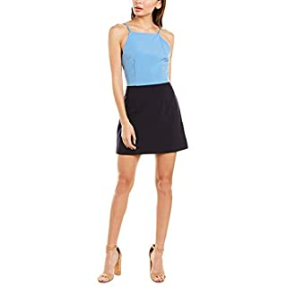 French Connection Women's Whisper Light Square Neck Strappy Dress, Duchess Blue, 10