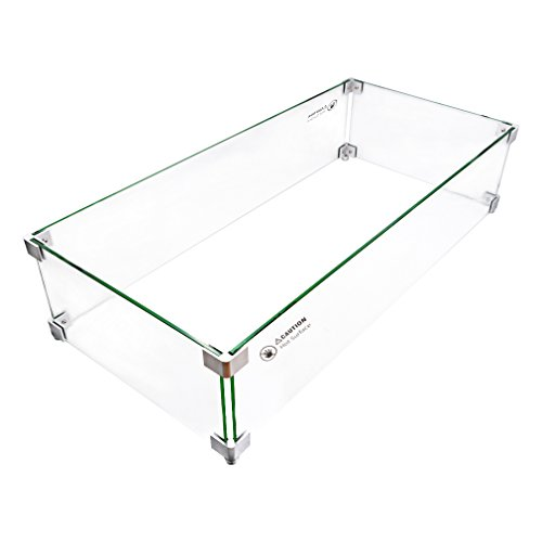 Skyflame Rectangular Fire Pit Glass Wind Guard, 30x14-Inch