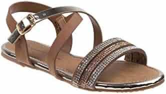 44e22e2407f2a Nanette Lepore Girls Tan Rhinestone Encrusted Open Toe Sandals 11-4 Kids