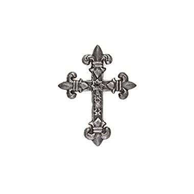 Fleur De Lis Cast Iron Decorative Cross 7.2'' X 6'' | Christian Gift | 2-sided Wall Cross | Wall Cross Decor