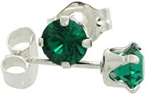 Sterling Silver Swarovski Crystal Emerald color May Birthstone Stud Earrings 4 mm 1/2 ct total