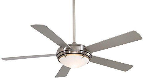 "Minka Aire F603-BN Como - 54"" Ceiling Fan with Foolish Kit, Brushed Nickel Finish with Silver Blade Finish with Satin White Opal Glass"