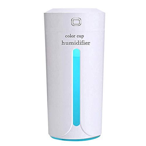DeniseM117 Luftreiniger, Luftbefeuchter mit 7 LED-Stimmungslicht, verstellbarer Nebel-Modus, stummfreier Luftreiniger für Zuhause, Auto, Schlafzimmer weiß