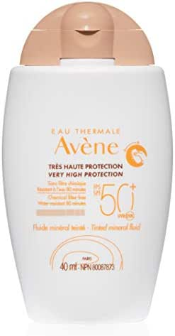 Eau Thermale Avene Tinted Mineral Fluid Sunscreen, Broad Spectrum SPF 50+, UVA/UVB Blue Light Protection, Water Resistant, Non-Greasy, 1.3 oz.