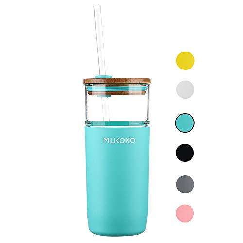 20oz Glass Tumbler with Straw and Lid,Tumbler With Silicone Protective Sleeve and Bamboo Lid – BPA Free Mint Green