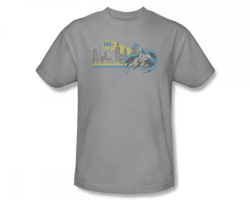 Batman+Retro+Shirts Products : Batman - Gotham Retro Slim Fit Adult T-Shirt In Charcoal