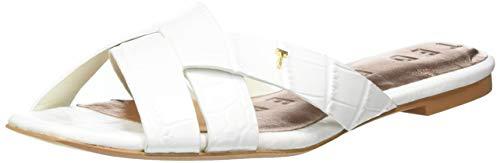 Wfd-Zelania-Embossed Croc Effect Flat T Sandal White