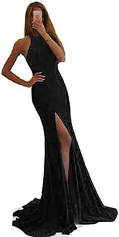 ad4dfc74b2a Ri Yun Women s Sexy Side Slit Backless Long Mermaid Prom Dresses Formal  Evening Party Gowns 2018